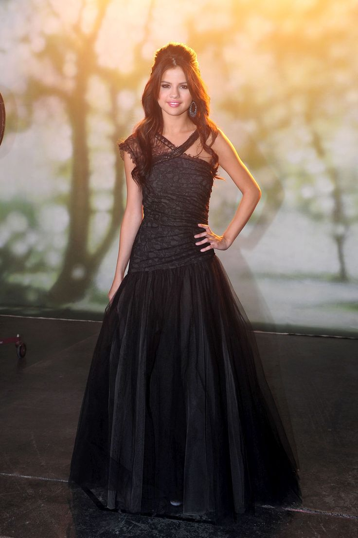 Selena Gomez long black dress