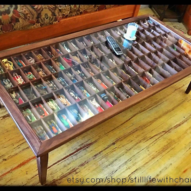 Walnut Shadow Box Coffee Table Display for Vintage Star Wars Figures #starwars #starwarstoys #vintagetoys #toydisplay