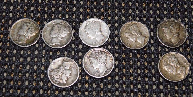 Lot : NINE Mercury Silver Dimes 1930 to 1937