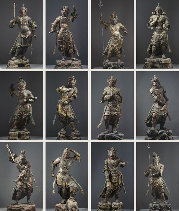 National Treasure of Japan, wooden statues of 12 God, property of Kofuku-ji temple, Japan