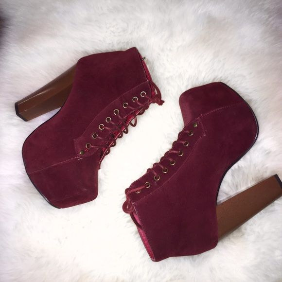 Burgundy Thick Heel boots Lace up, burgundy, high / thick heel Shoes Heeled Boots