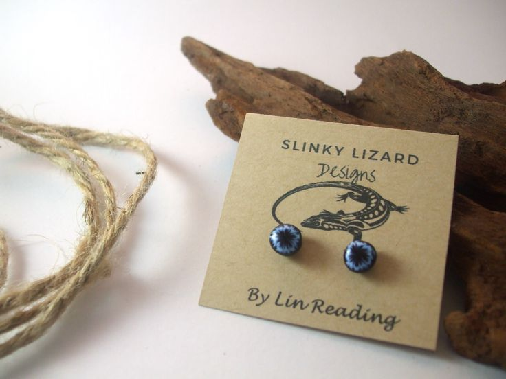 Slinky Lizard  Blue Polymer clay stud earrings $16