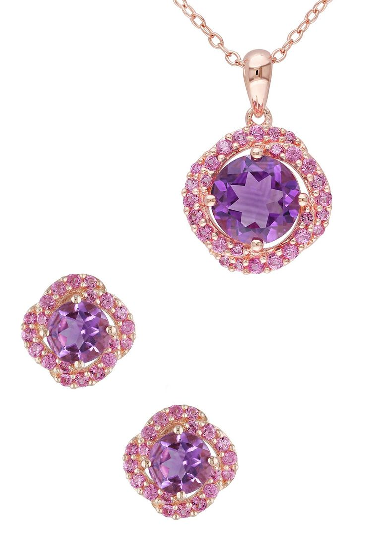 Amethyst with Created Pink Sapphire Pendant Necklace & Stud Earrings Set
