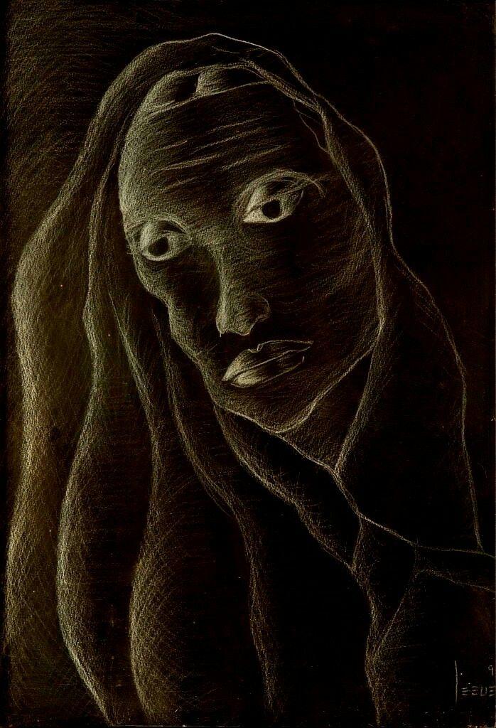 La mujer.  Prismacolor blanco sobre Papel negro. 50x34.5cm.  1995. Jesús Martínez.