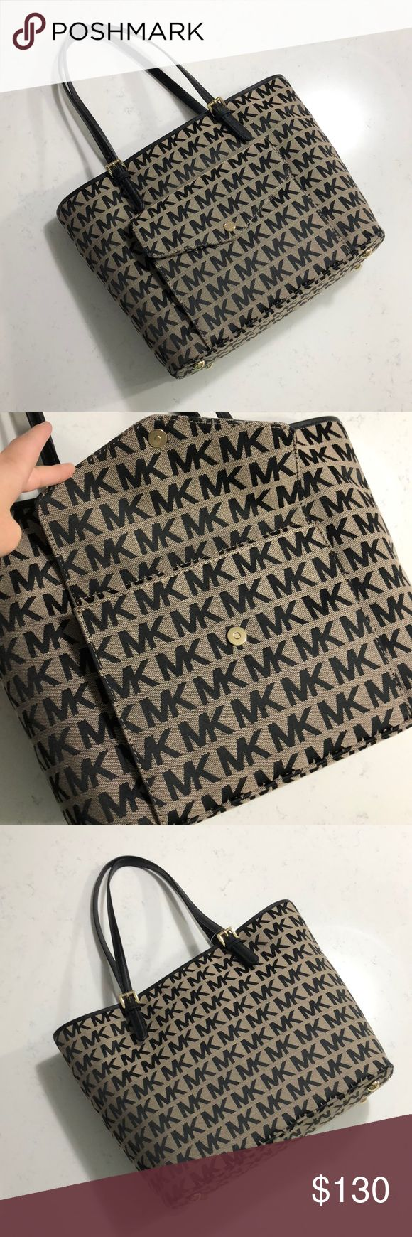 "Michael Kors Jet Set Snap Pocket Tote Jacquard Fashion meets function with this chic handbag, specially designed with a padded interior to fit most laptops and tablets. Base 12"" x 6"", height 11"", handle drop 8.5"" MICHAEL Michael Kors Bags Totes"