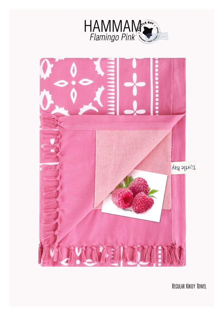 Printed Kikoy : Hammam Flamingo Pink