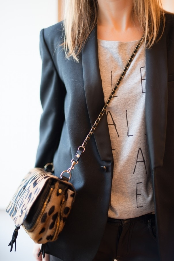 Love this. leopard print and a sweater under a blazer.