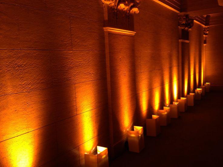 enhanced lighting installed amber uplights on the balcony