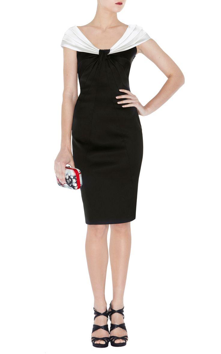 Black dress karen millen - Details About Karen Millen Dm201 Colour Block Satin Dress Black White