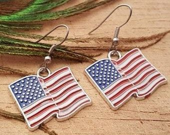 USA flag/Patriot/Trump earrings/Necklace with surgical steel hook