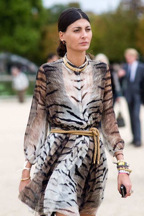 Giovanna Bataglia wearing a fabulous animal print dress