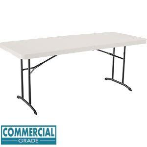 Commercial Grade 6 ft. Fold-In-Half Utility Table () by Lifetime. $109.95. With Lifetime's 6 ft. fold-in-half table, you'll not only have enough table space, but enough space for your table. This 6 ft. table folds in half, making it very convenient for storage and transportation. Lifetime's indoor/outdoor 6 ft. fold-in-half table is constructed from High-Density Polyethylene (HDPE) plastic and powder-coated steel, making it durable, lightweight, and weather resistant. No rust...