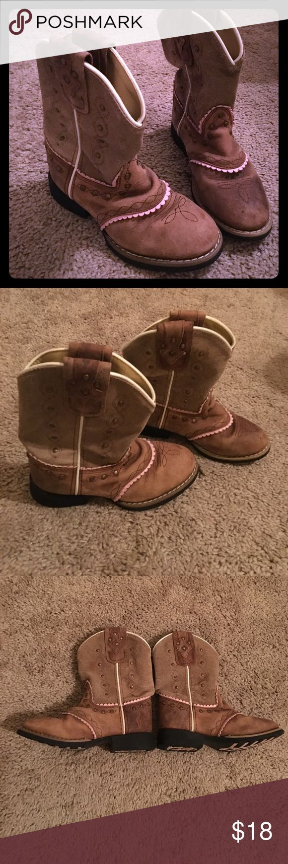 Girls Size 11 Smoky Mountain Boots Brown and Pink Very cute brown and pink boots Leather excellent condition 😍😍😍😍 Smoky Mountain Boots  Shoes Boots