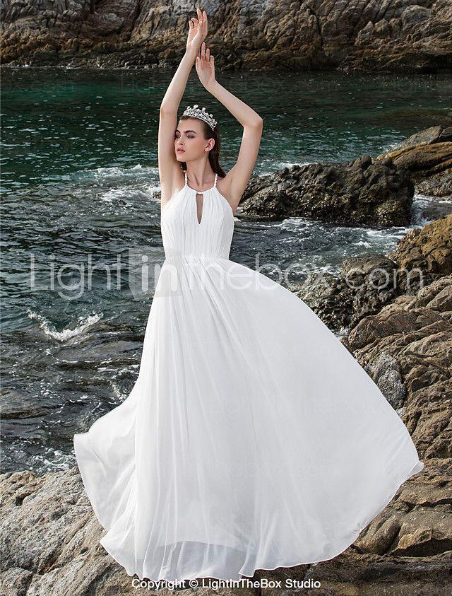 Lanting Bride® Eng anliegend Extraklein / Übergrößen Hochzeitskleid - Schick & Modern / Elegant & Luxuriös Rückenfrei Boden-Länge Träger 2017 - €68.59
