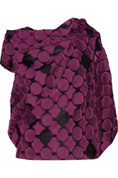 Roland Mouret - Eugene Open-back Draped Fil Coupé Cotton And Silk-blend Top - Plum - UK12