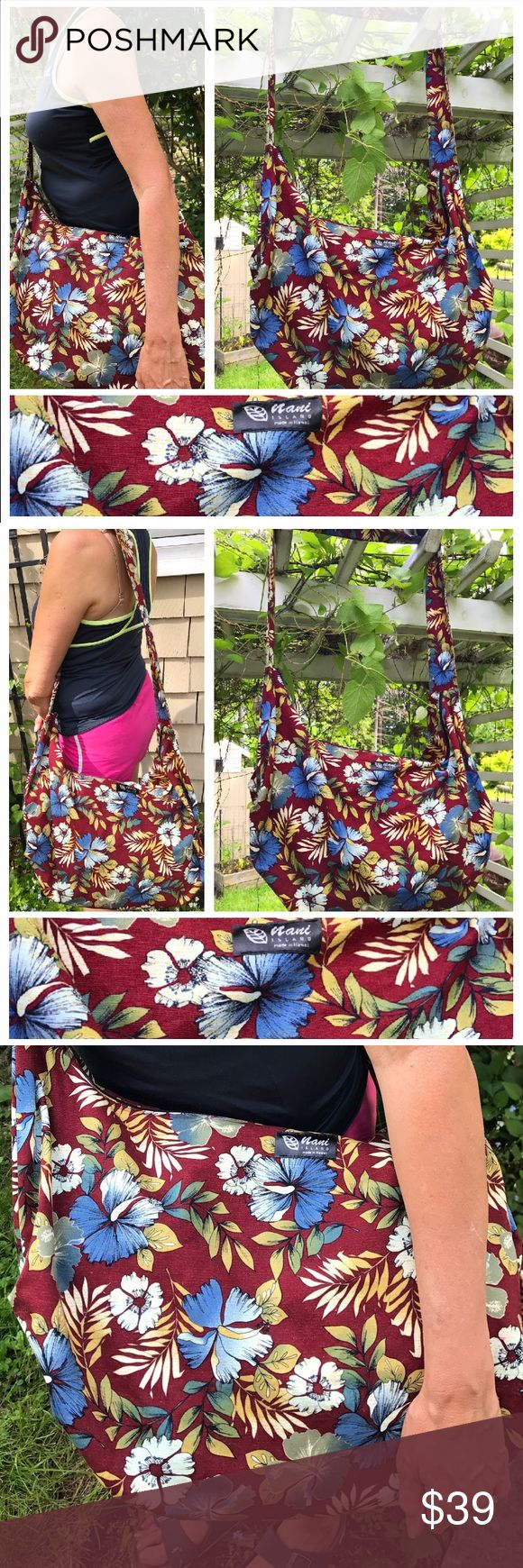 "❤️ ❤️ 1-HOUR SALE❤️ HAWAIIAN MADE HAWAII XL HAWAIIAN HOBO  cross body BAG MADE IN HAWII by Nani Island Maroon w tropical Hawaiian multi-color flowers 25"" by 14.5"" 2 3/4 "" handle strap width handle length is 36 1/2 "" long machine washable. Great weekend bag! Summer beach traveling shopping ! Nani Made in Hawaii Bags Shoulder Bags"