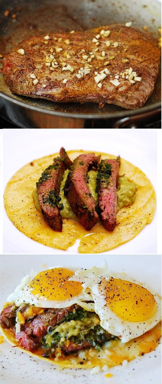 Mexican-spiced flank steak and eggs with guacamole and cheese on corn tortillas.  Easy to make.  Makes a great breakfast / brunch, or dinner! JuliasAlbum.com  | gluten free food, recipes