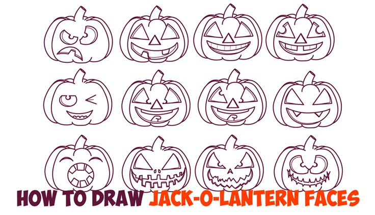 Here are twleve different Jack O'Lantern faces, emotions, and expressions reference sheets for you to learn how to draw for Halloween. We have happy, sad, silly, goofy, evil, angry, menacing, and other jack o'lantern expressions for you to learn how to draw in the easy step by step drawing lesson below.
