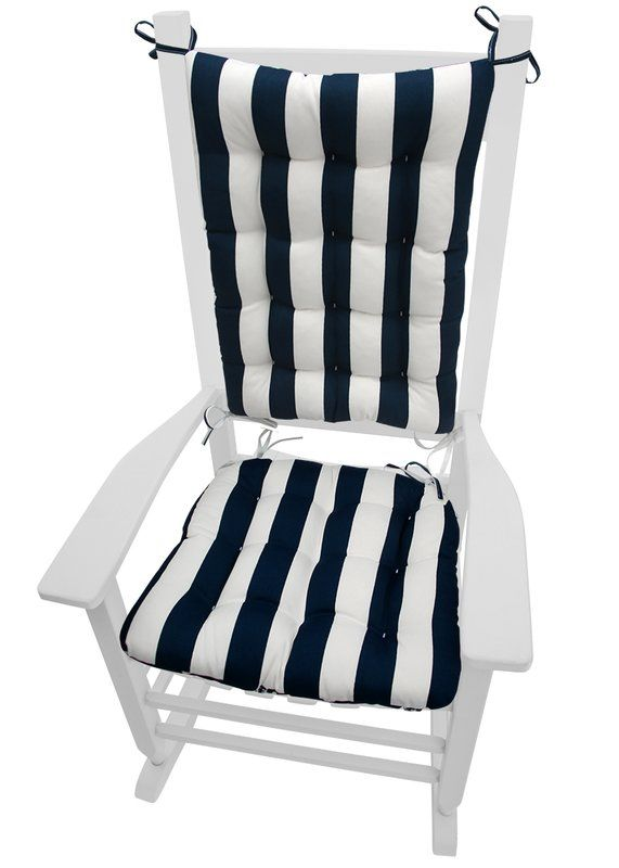 Coastal Outdoor Rocking Chair Cushion - navy and white wide stripes