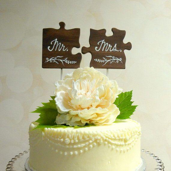 Herr / Frau Wedding Cake Topper, hölzerne Hochzeitstorte Topper, Puzzle Pieces Topper, benutzerdefinierte Cake Topper