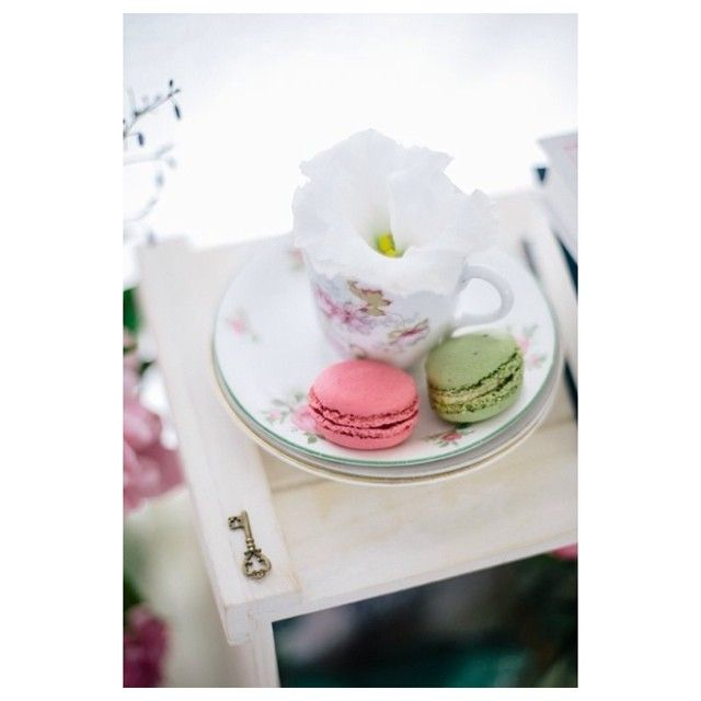 Sally Bay, floral, white, teacup, macaron, pink, green, key, styling