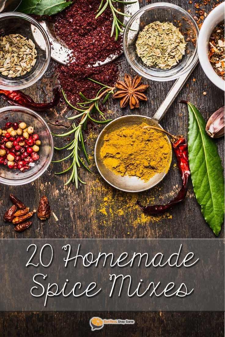 Get our 20 favorite spice mixes in a neat printable PDF! Making your own spice blend at home is much healthier and cheaper than paying $1 or more for a packet at the store. These homemade spice mixes include chili, Italian seasoning, ranch dip, onion dip, fajitas, dry rubs for steak and chicken, taco seasoning, and more. All the seasoning recipes you'll ever need in one place.