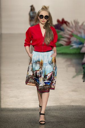 Trelise Cooper outfit - red v neck top and colourful printed knee length skirt at #nzfw2016 TRELISE_NG_1108.jpg