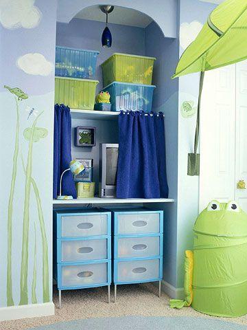 Quarto menino. Lindo!: Organizations Kids, Boys Rooms, Kids Rooms Boys, Rooms Ideas, Jungles Rooms, Nooks Ideas, Kids Rooms Organizations Ideas, Storage Ideas, Rooms Kids