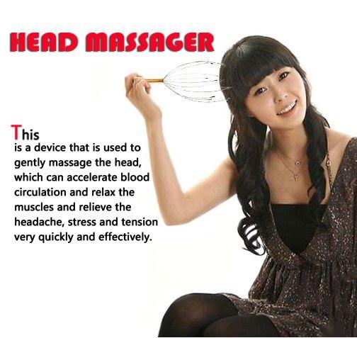 Stress Release Relax Head Neck Scalp Massager Massage Stress Release Gold #Unbranded