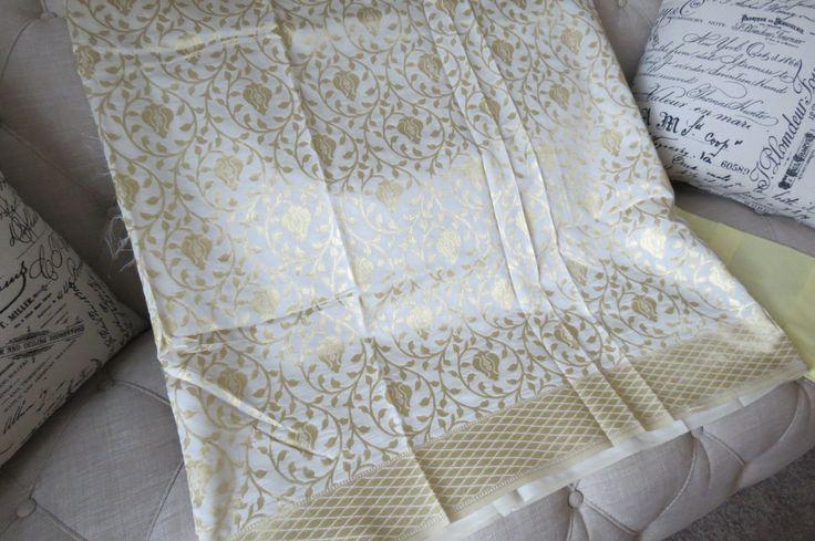 Kanchipuram silk sari in White by ZainabBoutique on Etsy