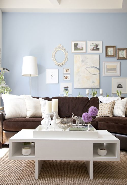 Living room: Wall Colors, Idea, Living Rooms, Blue Walls, Livingroom, Brown Couch, Brown Sofas, Colors Schemes, Memorial Tables