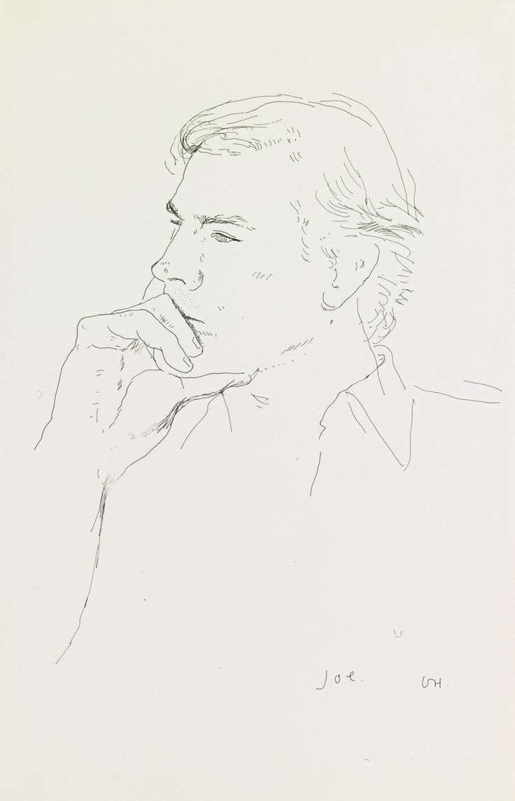 David Hockney B.1937 JOE Estimate: 8,000 - 12,000 USD signed with the artist's initials and titled ink on paper 12 3/8 by 8 in. 31.4 by 20.3 cm. Executed in 1977.