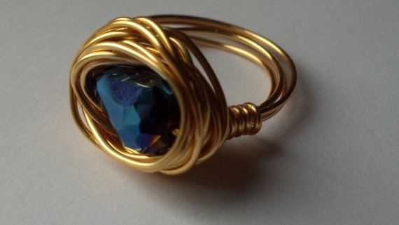 Cobalt Blue Gold Wire Ring