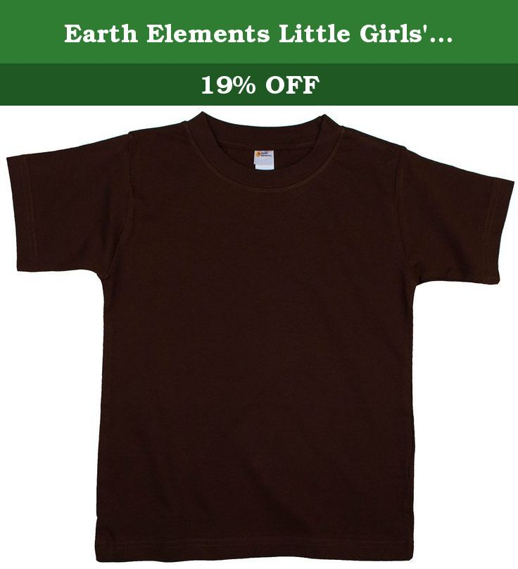 Earth Elements Little Girls' Short Sleeve T-Shirt 4T Chocolate. Toddler's crew neck t-shirt - Short sleeve, knitted, 20 single, 100% ring spun combed cotton (Heather: 93% cotton & 7% viscose). Neon Colors: 60% Cotton, 40% Polyester. Single jersey. Ribbed neck, shoulder-to-shoulder tape, double needle hem sleeves & bottom, coverseam neck, side stitched. White is stitched with cotton thread.