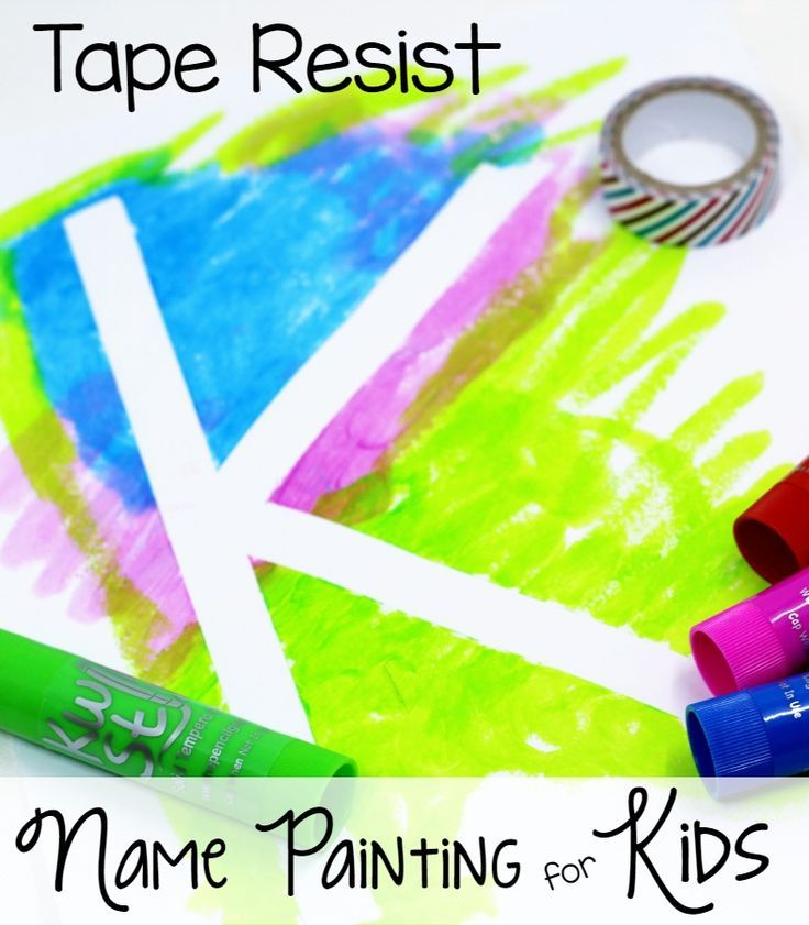 Tape Resist Name Paintings for Kids. Mess-free name painting for your preschool or kindergarten kids at home or in the classroom! - Pre-K Pages