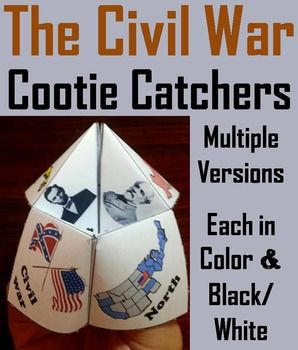 These cootie catchers/ fortune tellers are a great way for students to have fun while learning about the different historical figures, documents, and battles during the American Civil War. How to Play and Assembly Instructions are included.