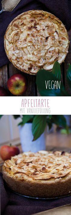 Apfeltarte mit Vanillefüllung I Veganer Apfelkuchen I Kuchen vegan I vegan backen. Entdeckt von Vegalife Rocks: www.vegaliferocks.de✨ I Fleischlos glücklich, fit & Gesund✨ I Follow me for more vegan inspiration @vegaliferocks