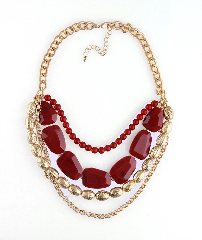 Fashion Gold Multi Layers Necklaces with Gemstones Chockers Women Jewlery DC85N848 $25.50
