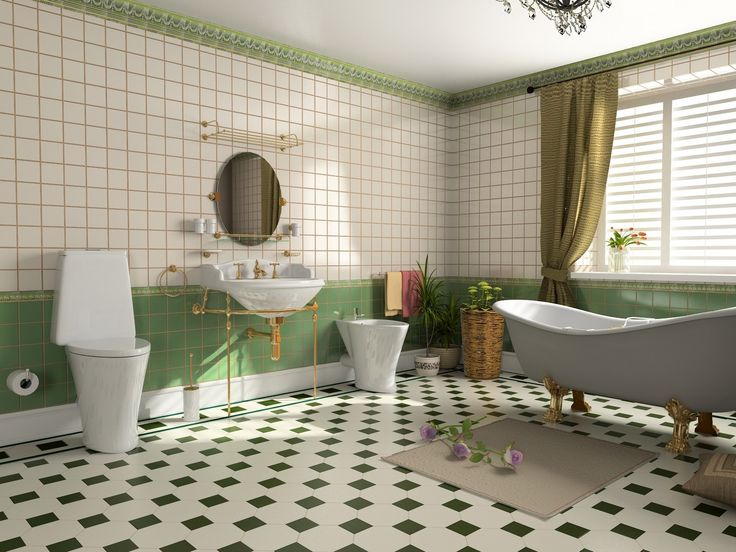 Bathroom Design, Appealing Large Bathroom Tile Layouts Classic Modern In A  Lovely Natural Green And Cream Scheme With Nice White Bathtub Washbasin And  ... Part 91