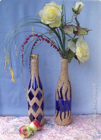 Декор предметов Мастер-класс Аппликация Декор с помощью крупы Бутылки стеклянные Клей Краска Крупа фото 7