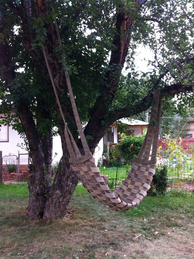 Repurposed fire hose hammock