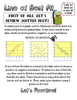 This is scatter plot activity that has notes on line of best fit/trend line.  Students are encouraged to create scatter plots from data from baseba...