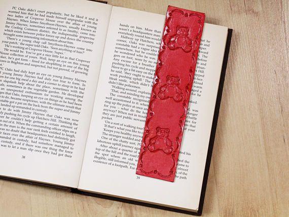 Handmade Bookmark, Leather Bookmark, Teddy Bear Bookmark, Children's Bookmark. Repin To Remember.