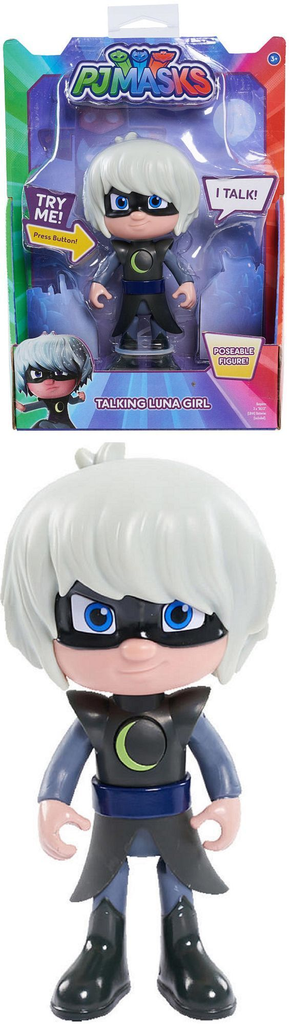 Christmas 2017 gift for our beautiful granddaughter and handsome grandson.  PJ Masks 6 inch Poseable Talking Luna Girl.  The kids love this along with the talking Owelette, Gekko, Cat Boy, Romeo, and Night Ninja we also got them for Christmas.
