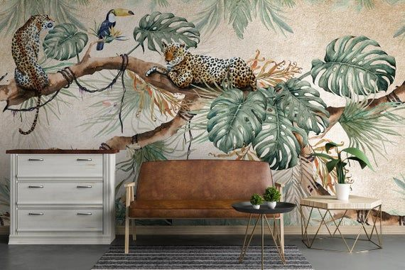 Tropical Wallpaper Self Adhesive Peel And Stick Tropical Leaves Wall Mural Animal Wall Paper Leopard Wall Mural Living Room Bedroom Hallway Animal Mural Tropical Wallpaper Wallpaper