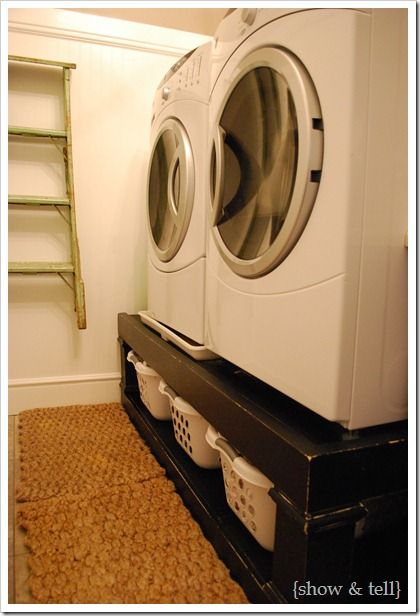 I like this idea because this means less bending while moving laundry back and forth. You also customize it with drawers on the bottom. But be sure whatever you make, it can handle the weight above it.: Basket Storage, Good Ideas, Laundry Rooms Storage, Extra Storage, Washer And Dryer, Washer Dry, Laundry Baskets Storage, Great Ideas, Storage Ideas