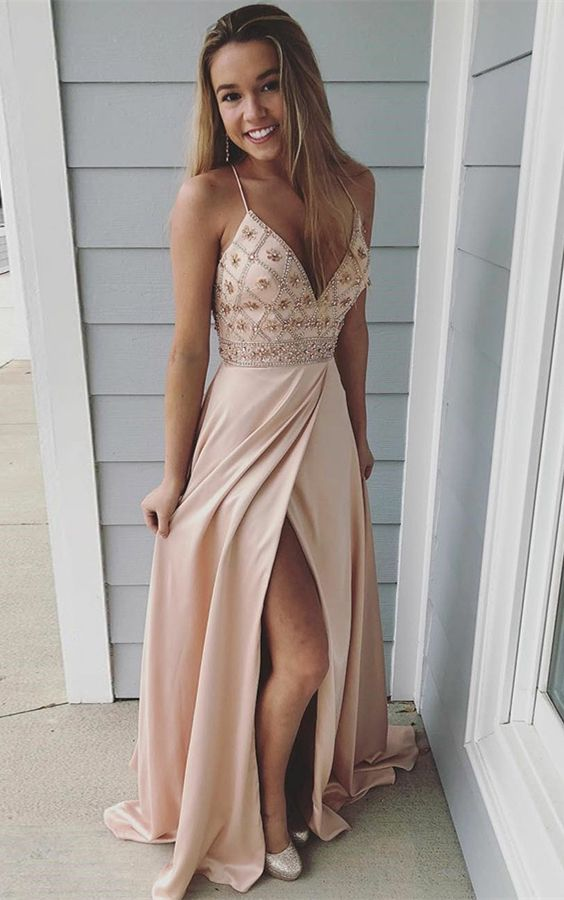 A-Line Spaghetti Straps Backless Pink Prom Dress with Beading B1224
