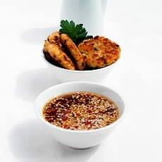 Thai Fishcakes with Sesame and Lime Dipping Sauce - pic shows starter size, make minis for canapes