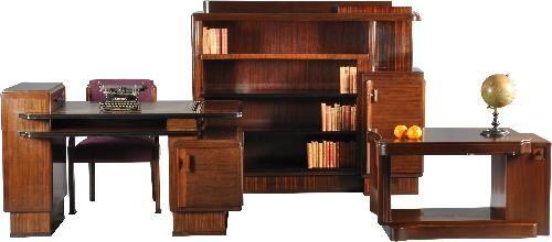 Antieke bureaus / Art Deco kamer 4-delig; bureau, boekenkast, salontafel, bureaustoel Jansen & Zn Amsterdam (No.960528)