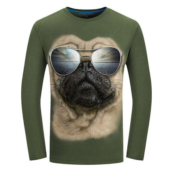 Plug Size Mens Fashion Unique 3D Pug Sunglasses Printing Casual Cotton Long Sleeve T-shirts